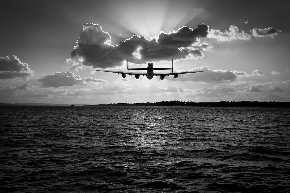 Low-flying Lancaster sunset black and white version by Gary Eason