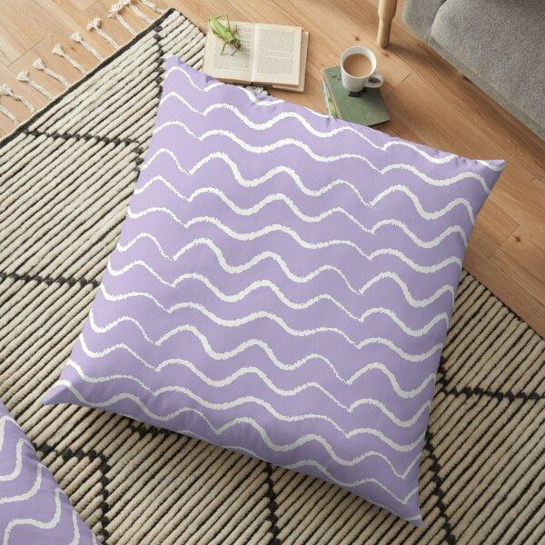 Waves on Purple Floor Pillow