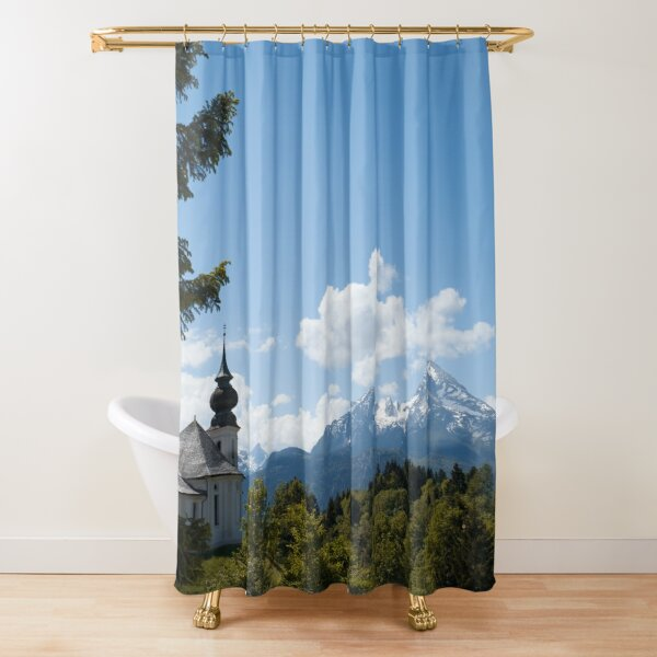 Bavarian church in the snowy mountains with breathtaking views Shower Curtain
