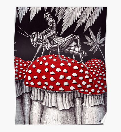 Grasshopper Rider surreal ink pen drawing Poster