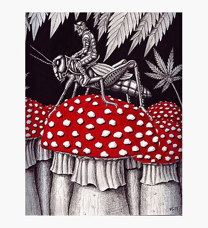 Grasshopper Rider surreal ink pen drawing Photographic Print