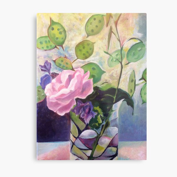 Honesty, Lavender and Rose Metal Print