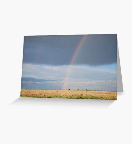 Double Rainbow on Kansas Prairie Greeting Card