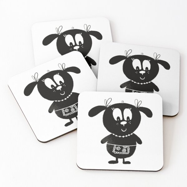 Black and white dog nr4 Coasters (Set of 4)