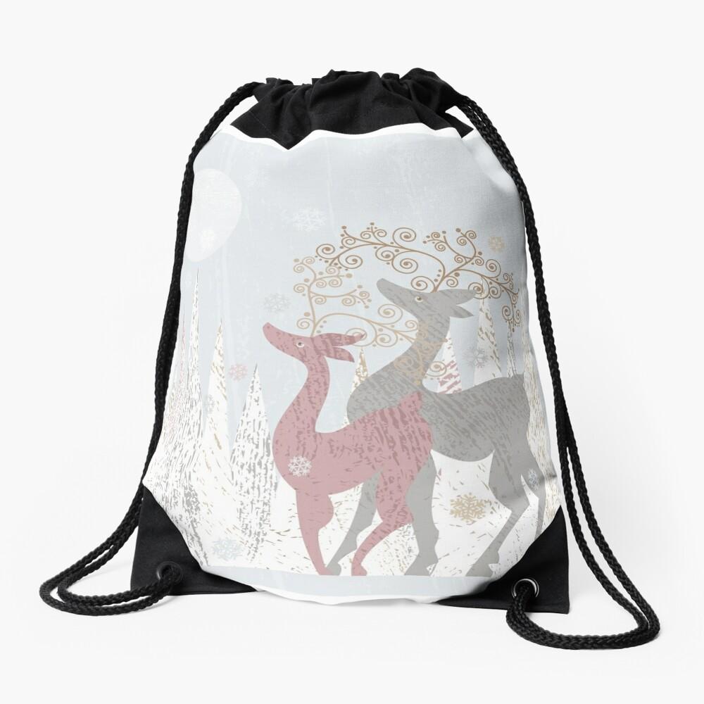 Couple of Deer Drawstring Bag