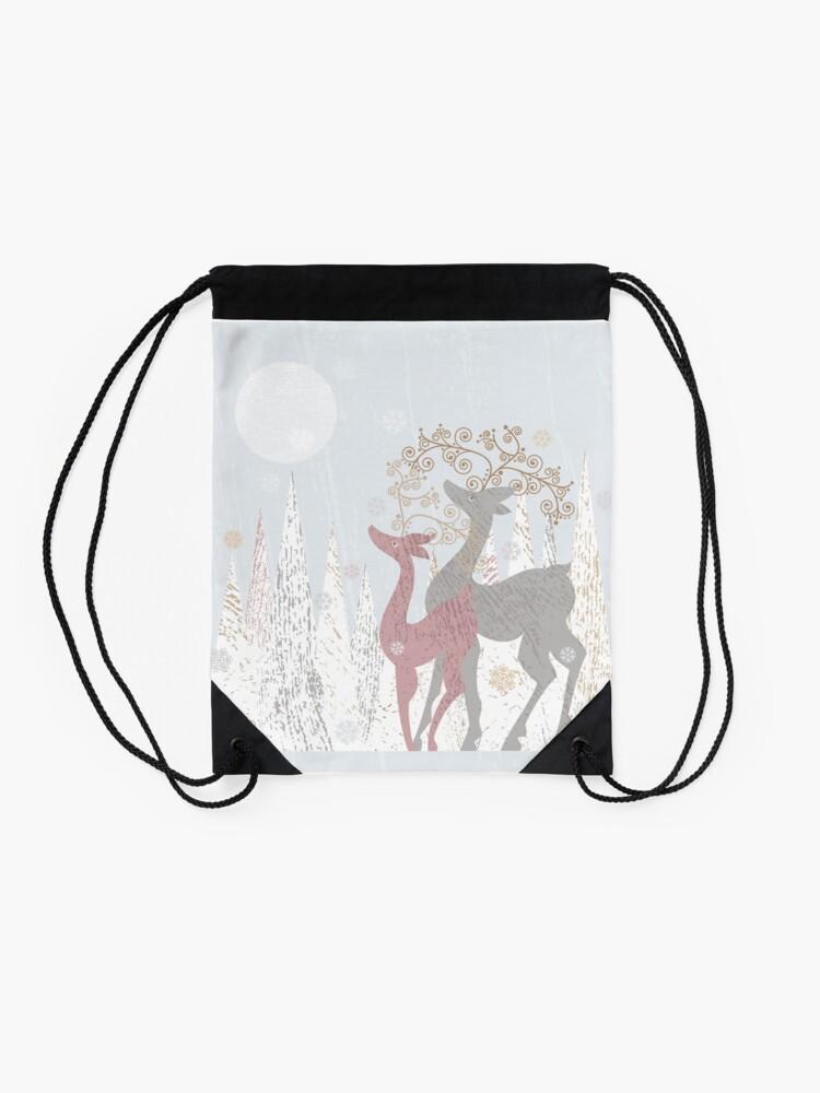 Alternate view of Couple of Deer Drawstring Bag