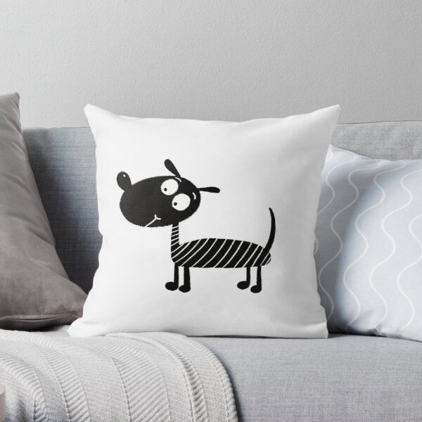Black and white dog nr6 Throw Pillow