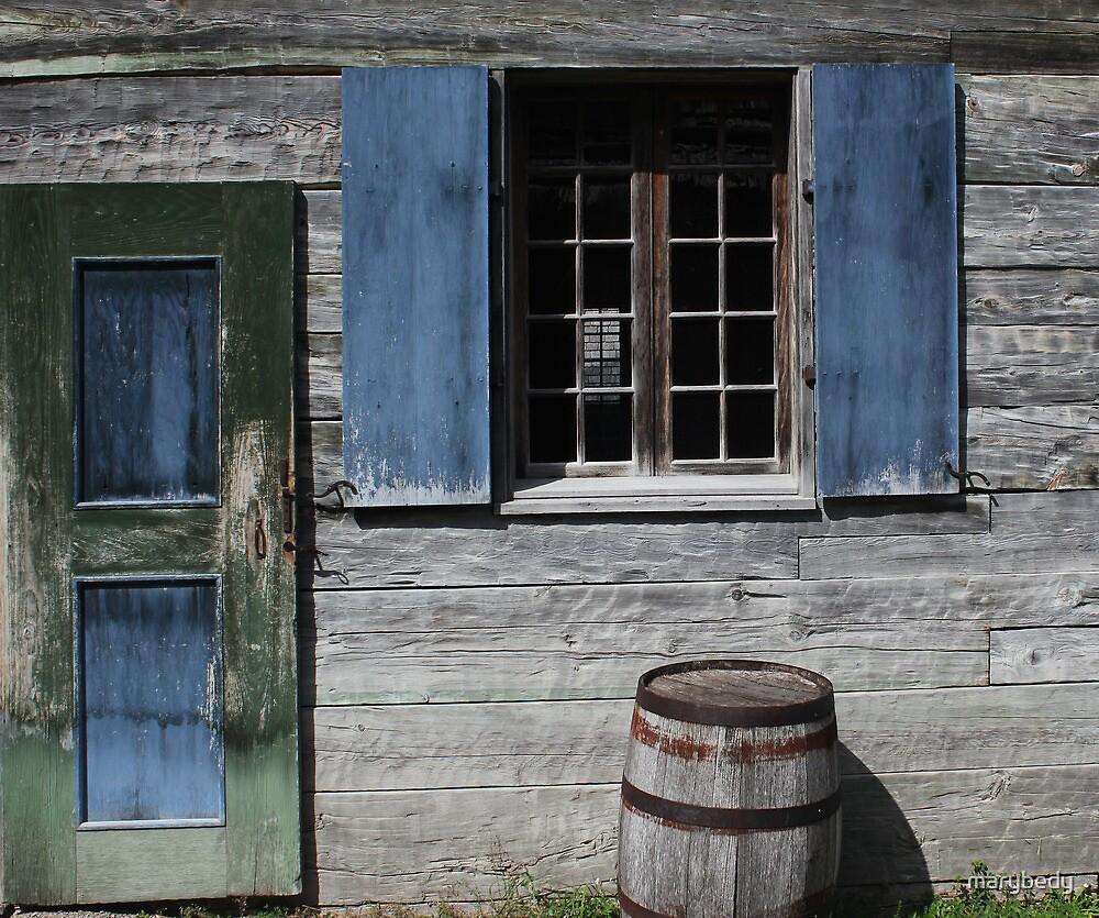 Green Door Blue Shutter Barrel by marybedy