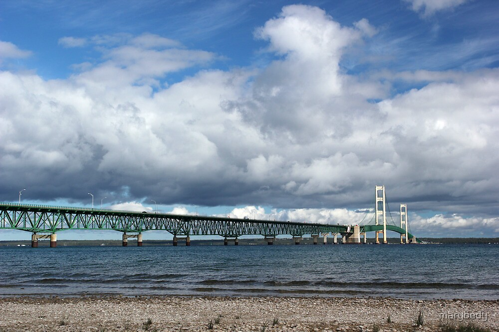 Mackinac Bridge Cloudy Day 2 by marybedy