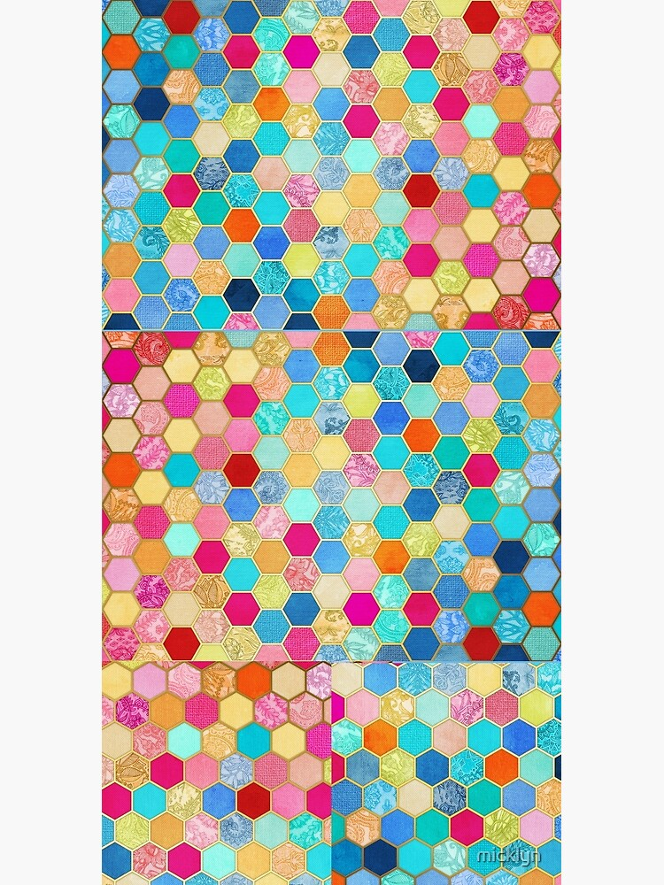 Patterned Honeycomb Patchwork in Jewel Colors by micklyn