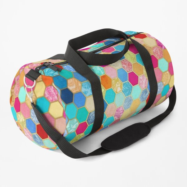 Patterned Honeycomb Patchwork in Jewel Colors Duffle Bag