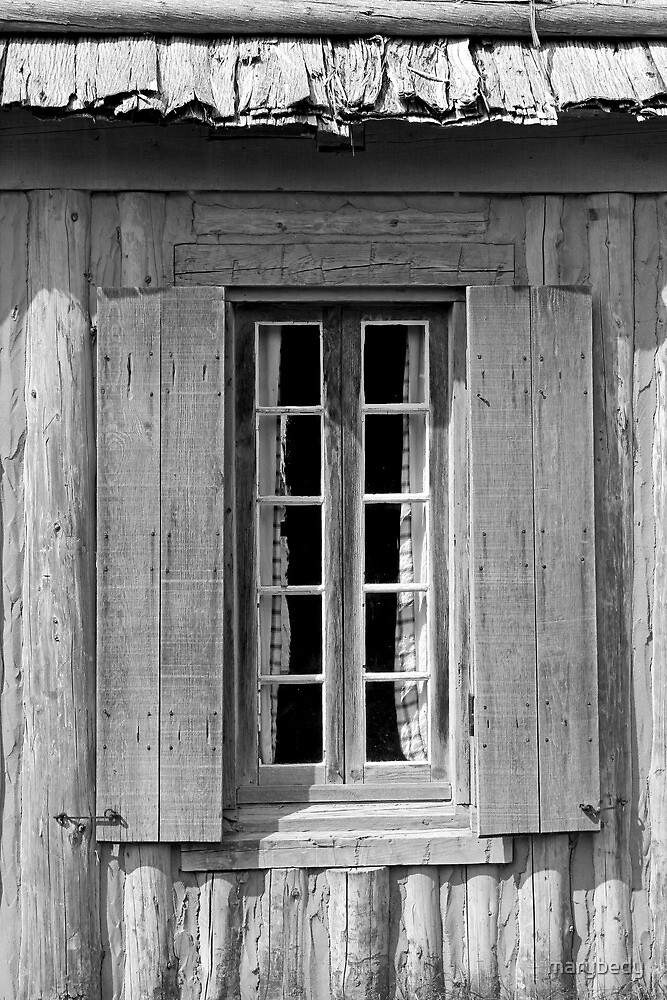 Window With Curtains Black and White by marybedy