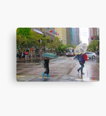 Mother and son on Market Street in the rain Canvas Print