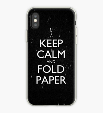 Keep Calm and Fold Paper - Stickman/Rain iPhone Case