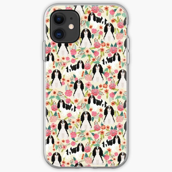 Cavalier King Charles Spaniel dog breed floral florals pet portrait gifts iPhone Soft Case