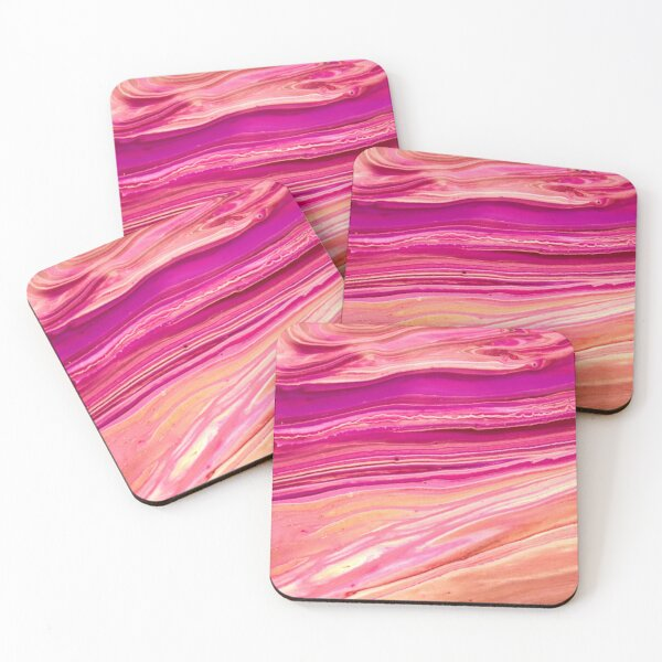 """""""Rose Gold"""" Acrylic Pour Coasters (Set of 4)"""