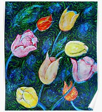 Tulips a bit in Van Gogh style Poster