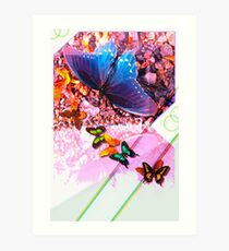 Butterfly graphic with grey gradient Art Print