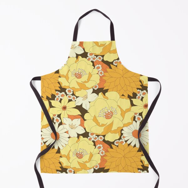 Yellow, Orange and Brown Vintage Floral Pattern Apron