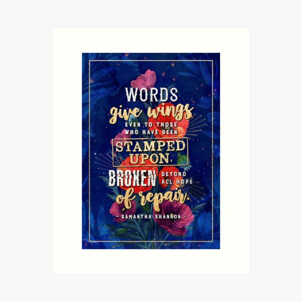 Words give wings Art Print
