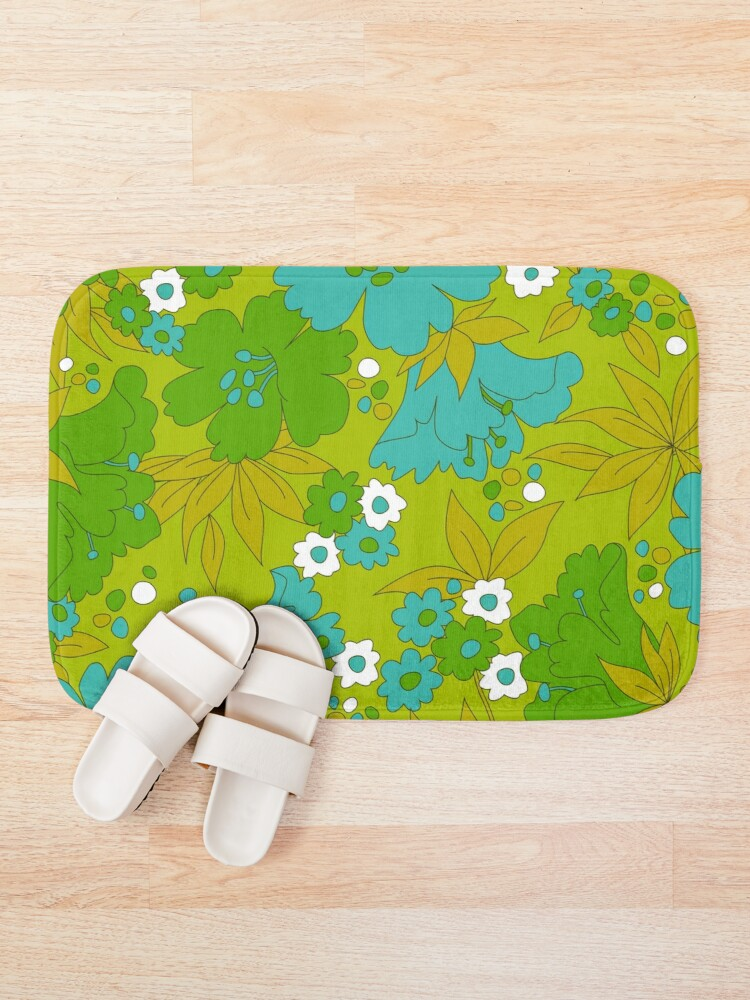 Alternate view of Green, Turquoise, and White Retro Flower Pattern Bath Mat