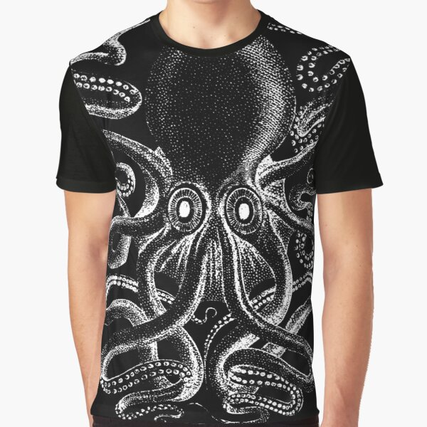 Dark Cthulhu Octopus Deep Sea Creature Graphic T-Shirt