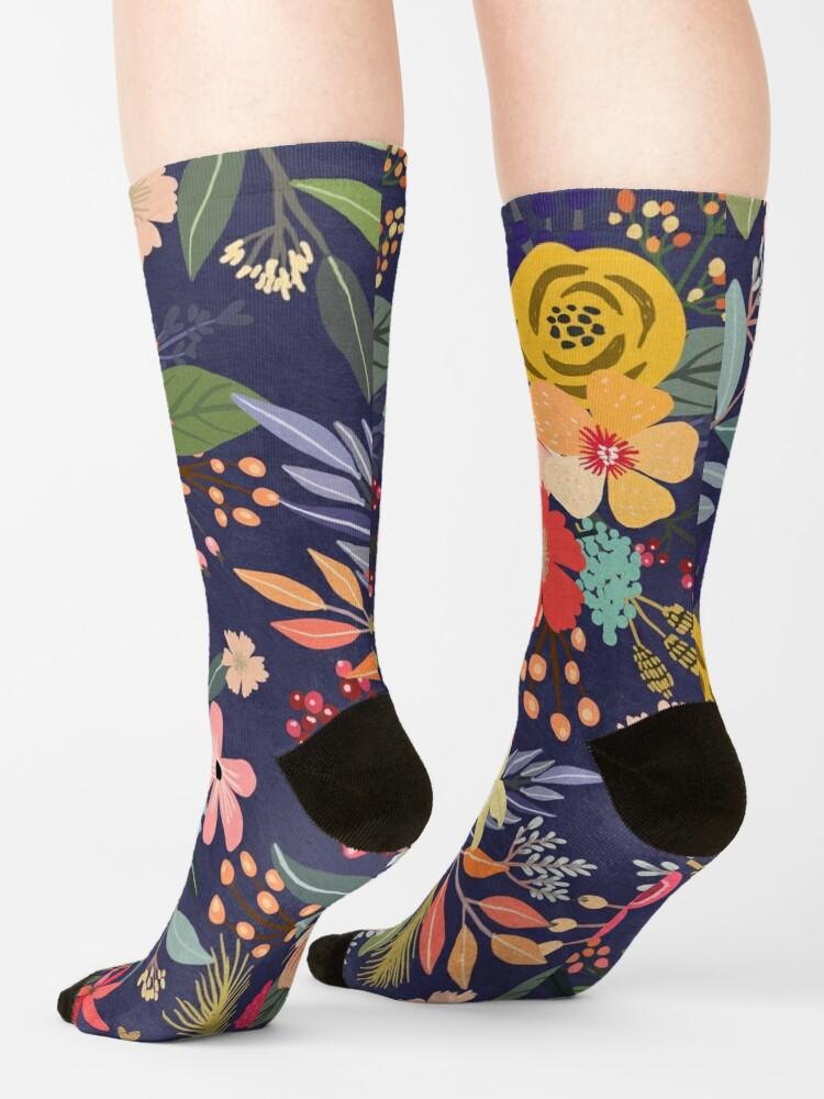 Alternate view of Carpe Diem with flowers Socks