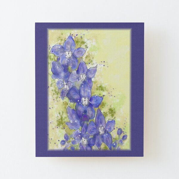 Whimsical Blue/Purple Delphinium Floral Painting Wood Mounted Print