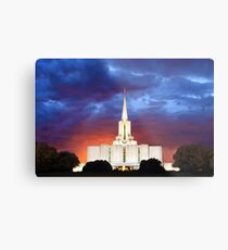 Jordan River Temple Stormy Sunset 30x20 Metal Print