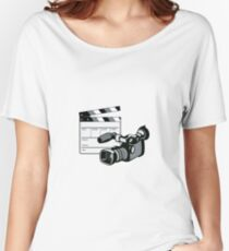 Video Camera Movie Clapboard Retro Women's Relaxed Fit T-Shirt
