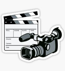 Video Camera Movie Clapboard Retro Sticker