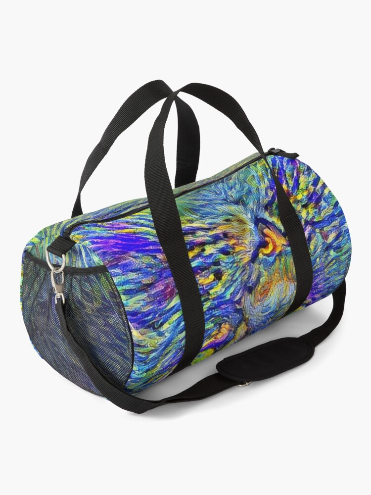 Alternate view of Artificial neural style Post-Impressionism cat Duffle Bag