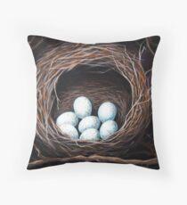 Bird Nest realistic animal art oil painting Throw Pillow