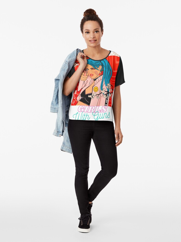 Alternate view of Don't Mess With Girls With Guns T-shirt Chiffon Top