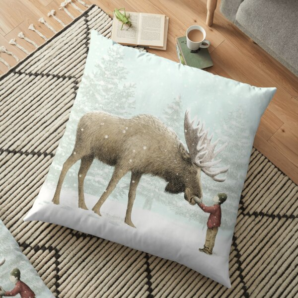 Boy and Moose Floor Pillow