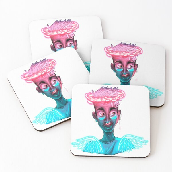 Neon angel Coasters (Set of 4)