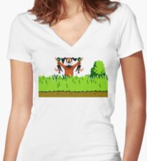 Duck Hunt Dog with 2 Ducks Women's Fitted V-Neck T-Shirt