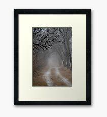 Dirt Road and Trees in the Fog Framed Print