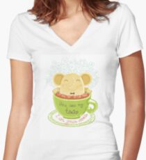 Tea and Cookie - Rondy the Elephant Women's Fitted V-Neck T-Shirt