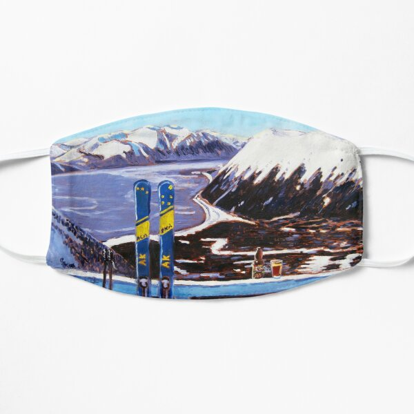Alaska Skiing Shirt, Downhill Skis, Gift for Skier, Girdwood, Mt. Alyeska, Gift for Alaskan, Skiing Art, Skis Art Flat Mask