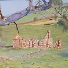 Ruins at Springton & old Gum Tree. Oil on canvas. by Rita Blom