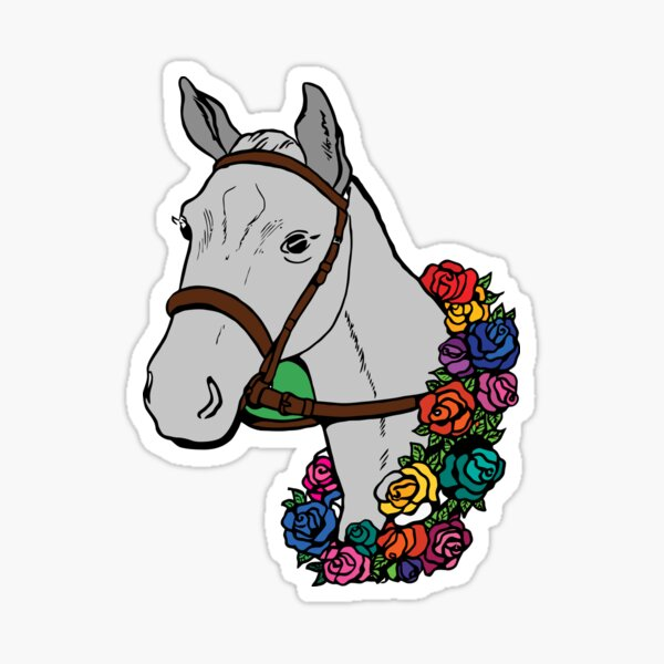 White Horse Head with Colored Roses Sticker