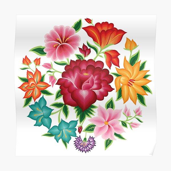 Mexican Floral Bouquet Póster