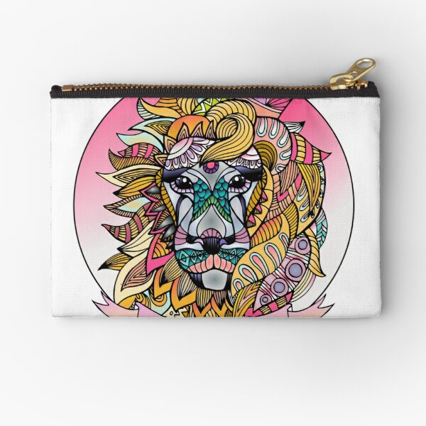 Leo Royalty Lion Face in Pink and Yellow Zipper Pouch