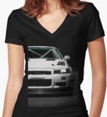 Mat Wootten's Nissan Skyline R34 GTT Women's Fitted V-Neck T-Shirt