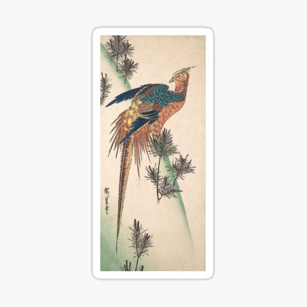 Pheasant and Pine-trees on Snowy Hillside Sticker