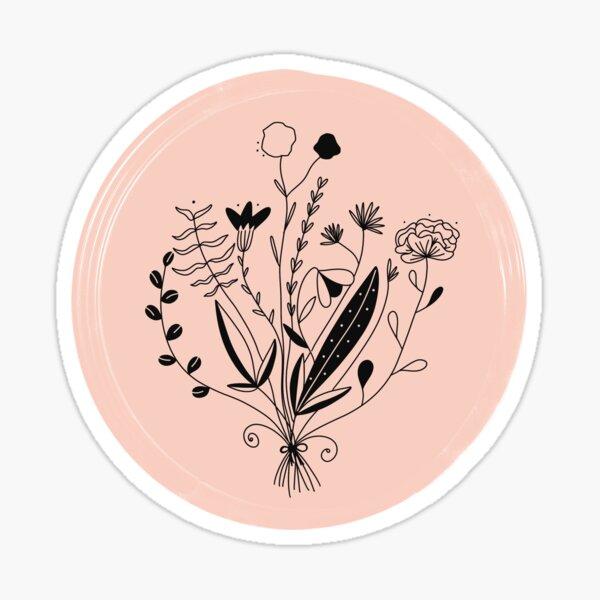Pink Hand Drawn Florals Sticker
