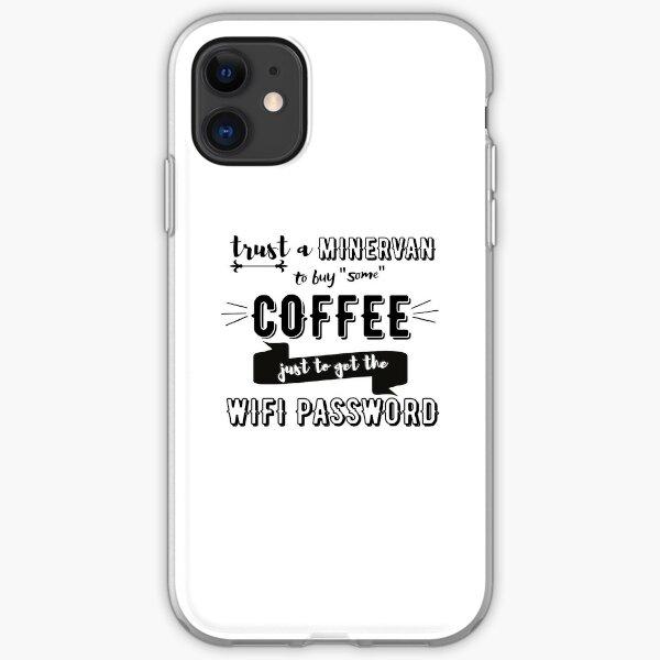 Café + WiFi + Minervan! (en negro) Funda blanda para iPhone