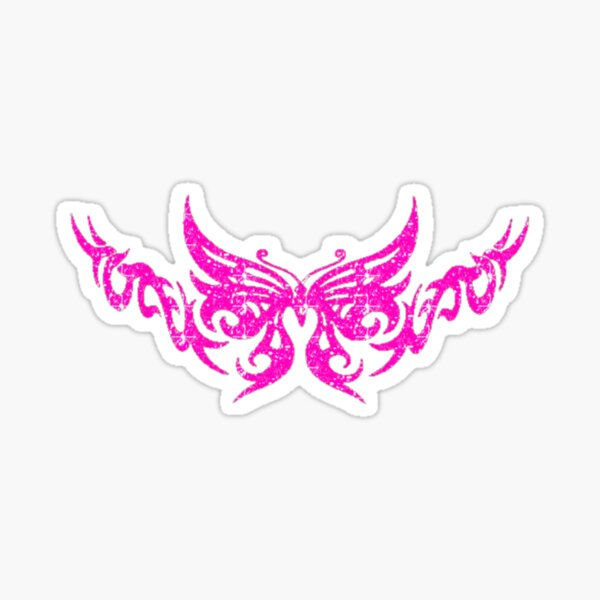 butterfly neon pink lace symbol Sticker