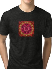 Mandala of Cocktail Straws in Fuschia, Ochre and Red Tri-blend T-Shirt